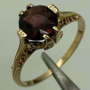 Red Garnet Vintage 10 Kt Handmade Ring Sz. 5.5